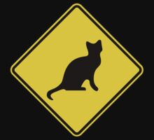Cat Crossing Traffic Sign - Diamond - Yellow & Black One Piece - Short Sleeve