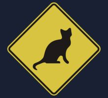 Cat Crossing Traffic Sign - Diamond - Yellow & Black Kids Clothes