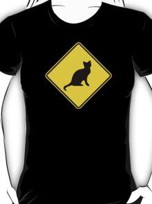 Cat Crossing Traffic Sign - Diamond - Yellow & Black T-Shirt