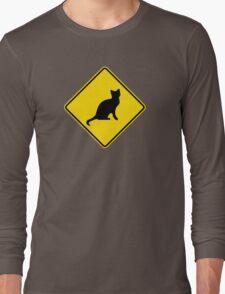 Cat Crossing Traffic Sign - Diamond - Yellow & Black Long Sleeve T-Shirt