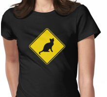 Cat Crossing Traffic Sign - Diamond - Yellow & Black Womens Fitted T-Shirt