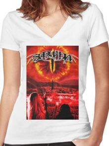Saruman Heavy Metal Women's Fitted V-Neck T-Shirt