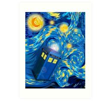 Space and time traveller phone box Starry the night Cartoons Art Print