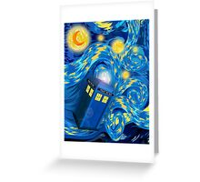 Space and time traveller phone box Starry the night Cartoons Greeting Card