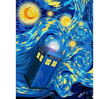 Space and time traveller phone box Starry the night Cartoons Photographic Print