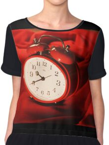 Red Alarm Clock 4 - Warm, Love, Valentine, Charming, White, Time Chiffon Top