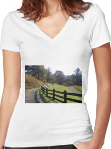 Country fence Women's Fitted V-Neck T-Shirt