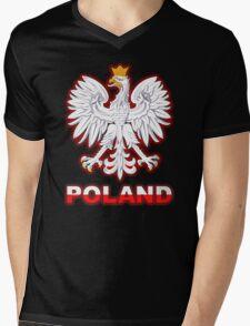 Poland - Polish Coat of Arms - White Eagle Mens V-Neck T-Shirt