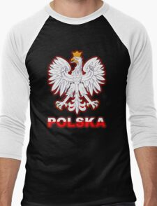 Polska - Polish Coat of Arms - White Eagle Men's Baseball ¾ T-Shirt