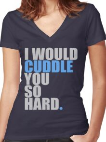 cuddle (blue) Women's Fitted V-Neck T-Shirt