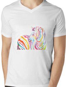 Psychedelic Zebra Mens V-Neck T-Shirt