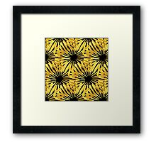 Black background gold Daisies pattern Framed Print