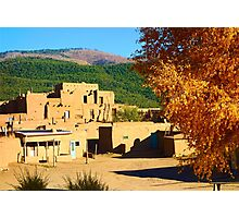 Taos Pueblo South in Autumn Photographic Print