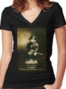Little Nap The Napoleon of the Chimpanzee World! Women's Fitted V-Neck T-Shirt