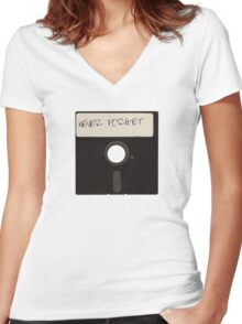 Never Forget Computer Floppy Disks Women's Fitted V-Neck T-Shirt