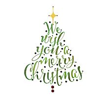 We Wish You A Merry Christmas Tree Calligraphy Art by Laura Bell