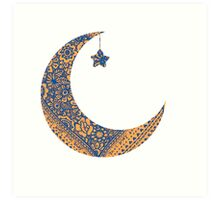 Moon and star Art Print