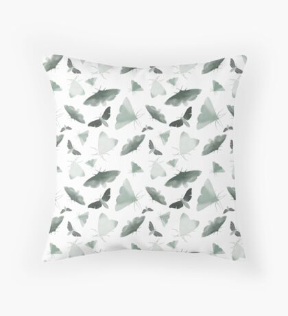 Watercolor Moths Throw Pillow