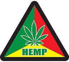 Caution Hemp Marijuana Sign Rastafarian Photographic Print