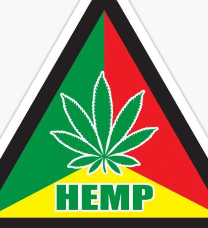 Caution Hemp Marijuana Sign Rastafarian Sticker