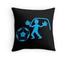 GOALIE with soccer ball making a save Throw Pillow