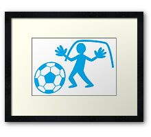 GOALIE with soccer ball making a save Framed Print
