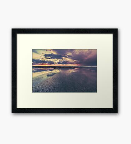 Ocean Sea Beach Water Clouds at Sunset - Pacific Coast Highway Long Beach, WA Framed Print