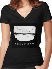 Shiny Bay - where you'd rather be Women's Fitted V-Neck T-Shirt