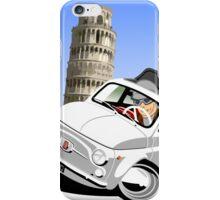 Classic Fiat 500 in Pisa caricature iPhone Case/Skin