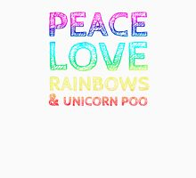 Peace, Love, Rainbows & Unicorn Poo Womens Fitted T-Shirt