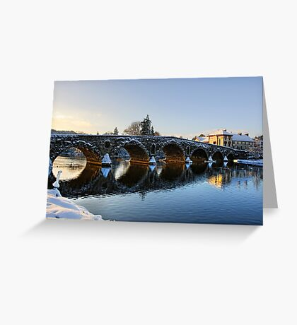 Evening sun shines through the arches of Graiguenamanagh bridge, County Kilkenny, Ireland Greeting Card