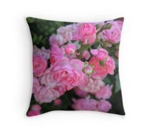Pink Rose Flowers Throw Pillow