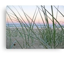 Lennox Head grassy hill with sunset backdrop Canvas Print