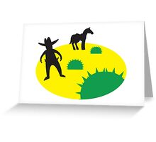 wild west with cowboy and horse and cactus Greeting Card