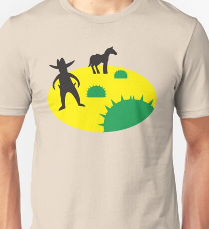 wild west with cowboy and horse and cactus Unisex T-Shirt