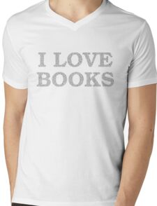 I Love Books Typography Mens V-Neck T-Shirt
