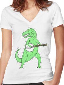 Dino Banjo Women's Fitted V-Neck T-Shirt