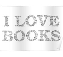 I Love Books Typography Poster