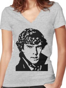 BENEDICT CUMBERBATCH-SHERLOCK HOLMES ILLUSTRATED PORTRAIT T SHIRT Women's Fitted V-Neck T-Shirt