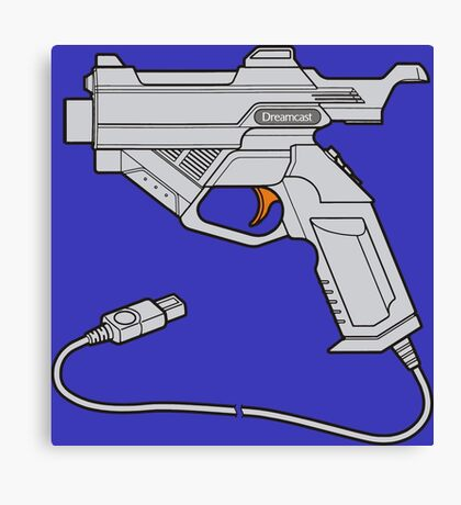 Dreamcast Light Gun (On Blue) Canvas Print