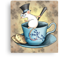 Tea Cup Mouse in Tophat Canvas Print