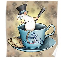 Tea Cup Mouse in Tophat Poster