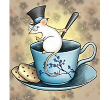 Tea Cup Mouse in Tophat Photographic Print
