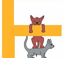 Cat Alphabet Letter E by Denilee81