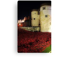 Poppies at the Tower of London - Night #3 Canvas Print