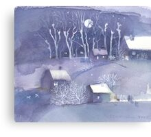 Winter village at night Canvas Print