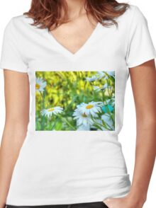 Daisy in the Garden 2 Women's Fitted V-Neck T-Shirt