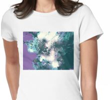 Halftone Blossoms 3 Womens Fitted T-Shirt