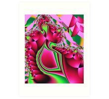 Cute Pattern in hot pink and green Art Print