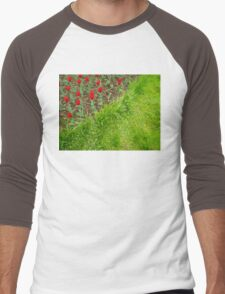 Red Tulips and Green Grass Men's Baseball ¾ T-Shirt